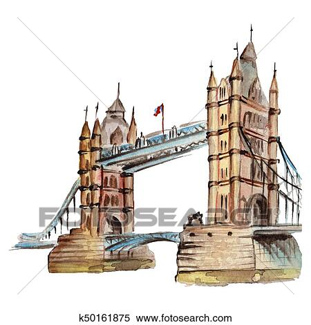 stock illustration of watercolor london illustration great britain