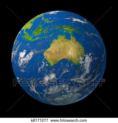 オーストラリア 上に 地球の 地球 イラスト K8171277 Fotosearch