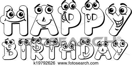 Clip Art Alles Gute Geburtstag Zeichen Farbung Seite K19792626
