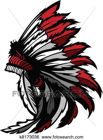 clip art of american native indian feather head k8173036 search rh fotosearch com clip art indian women clip art indians