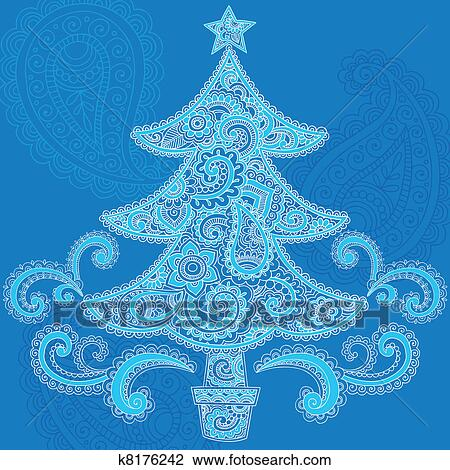 Clipart Of Christmas Tree Paisley Henna Vector K8176242 Search