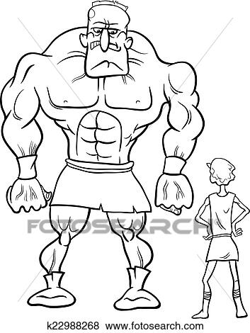 Clip Art David Goliath Karikatur Ausmalbilder K22988268 Suche