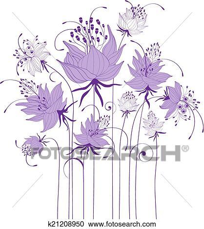 Clipart Disegno Floreale Stilizzato Fiori K21208950 Cerca