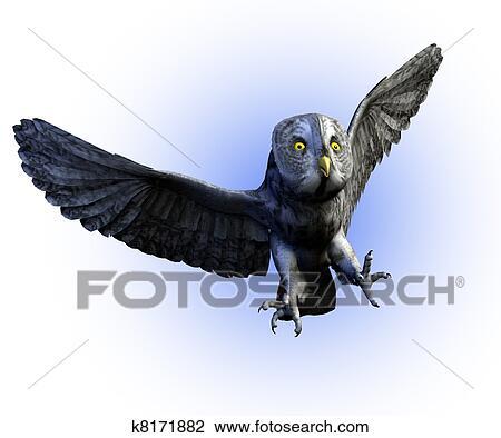 Great Gray Owl Flying