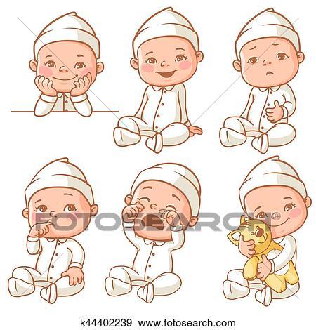 Clip Art Klein Baby Tragen Pajama K44402239 Suche Clipart