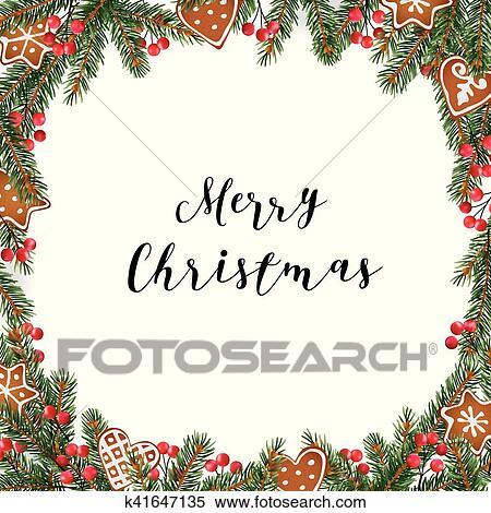 clipart navidad marco guirnalda hecho de rbol hoja perenne abeto picea ramas bayas rojas y galletas pan gengibre blanco fondo - Guirnalda Navidad