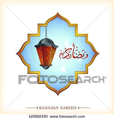 Clipart of ramadan greeting card k20692430 search clip art ramadan traditional lantern on greeting card eps 10 file m4hsunfo