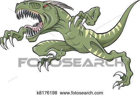 clip art of raptor dinosaur vector illustration k8176198 search rh fotosearch com Cartoon Raptor Dinosaur Raptor Clip Art Black and White