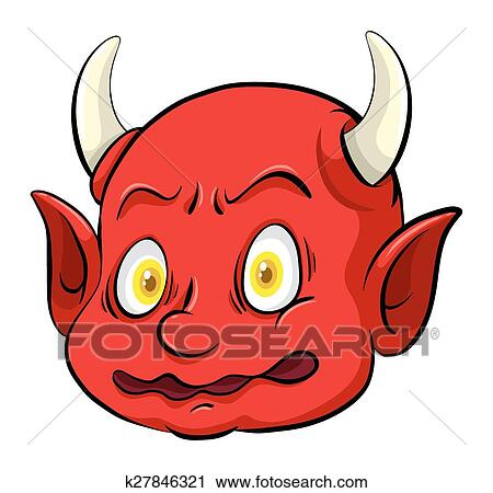 Clipart Of Scary Creature With A Horn K27846321