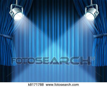 Stock Illustraties - schijnwerpers, op, blauwe, fluweel, bioscoop ...