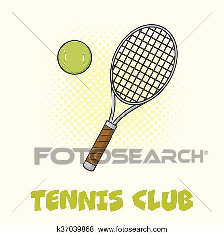 Clip Art Of Tennis Ball And Racket Poster K37039868 Search Clipart
