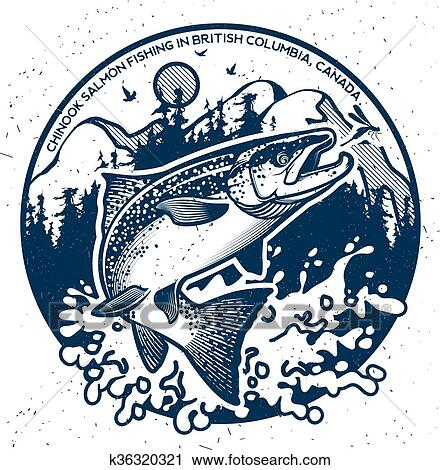 Vintage salmon fishing emblems Clipart | k36320321 | Fotosearch