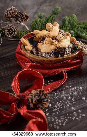 Weihnachtsdeko Zum Essen.Weihnachten Lebkuchen Plätzchen Stock Foto