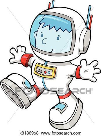 宇宙飛行士の色 漫画 男の子 ベクトル クリップアート K8186958