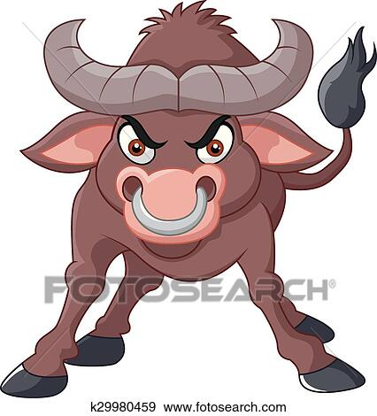 Angry bull with strong power Clip Art