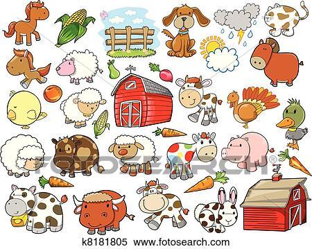 Clipart animale fattoria vettore disegni elementi for Disegno della fattoria americana