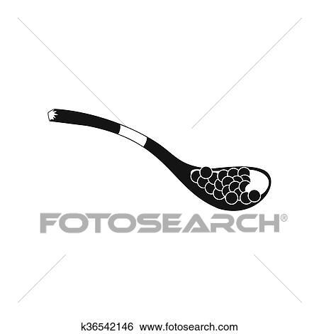 black caviar in spoon icon simple style stock illustration k36542146 fotosearch https www fotosearch com csp818 k36542146