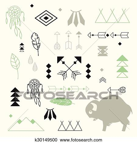 Clipart Of Collection Of Native American Symbols With Cute Baby