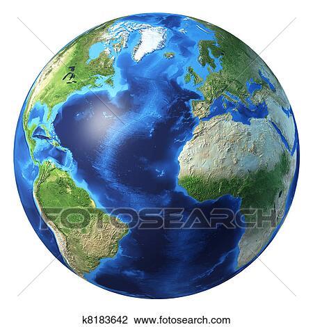 Earth globe, realistic 3 D rendering  Atlantic ocean view  Drawing