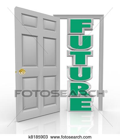 A white door opens to reveal the word Future to represent the new opportunity hope and good things in store for you lying right in front of your path  sc 1 st  Fotosearch & Drawing of Future Door Opens to New Opportunity Hope and Good Things ...