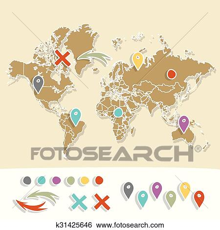 Clip Art of Hand drawn world map with pins and arrows vector design ...