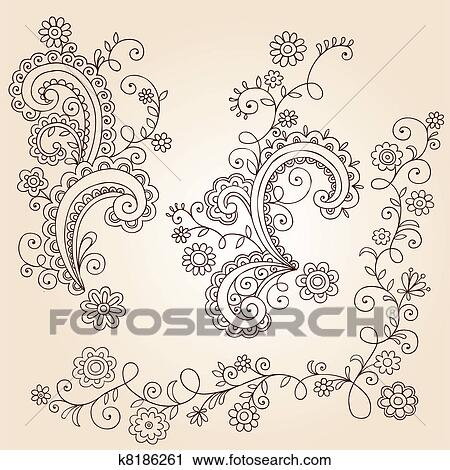 Clipart Of Henna Flower Vines Doodle Vector K8186261 Search Clip