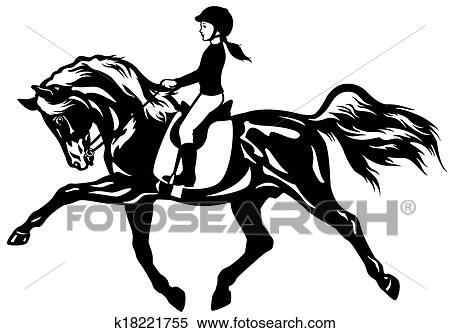 Clipart Of Kid Riding Horse K18221755
