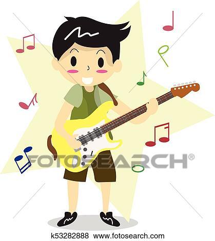 Menino Jovem Tocando Violao Eletrico Feliz Amor Musica