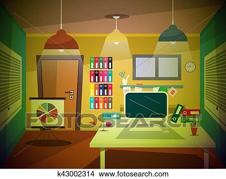 Clipart Oficina Habitacion Retro Caricatura K43002314 Buscar - Habitacion-retro
