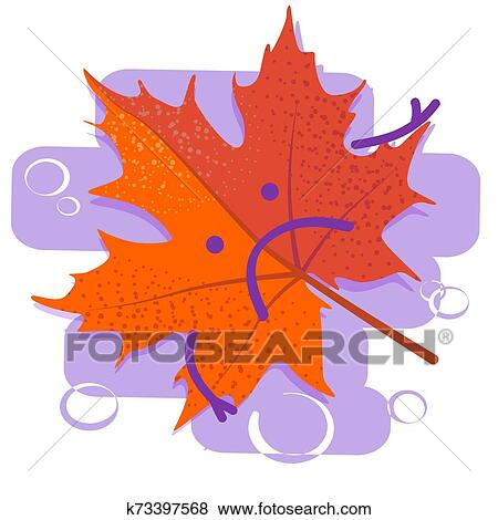 Red sad leaf. Seasonal depression. Autumn cold and flu ...