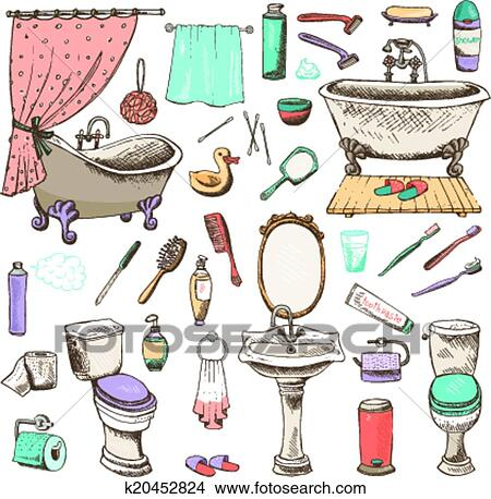 Clipart Of Set Of Bathroom And Personal Hygiene Icons K48 Unique Bathroom Clipart Set