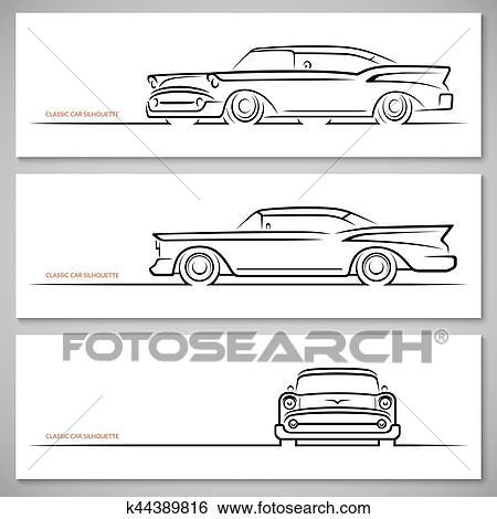 Set Of Vintage Classic Car Silhouettes Outlines Contours Clip Art