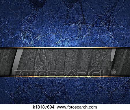 Sfondo Blu Con Nero Disinserimento E Oro Rifilare Archivio