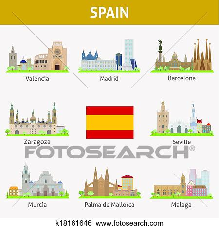 Clip Art Of Spain Symbols Of Cities K18161646 Search Clipart