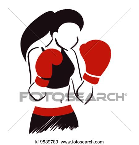 clip art of symbol of boxing woman k19539789 search clipart rh fotosearch com muay thai clipart