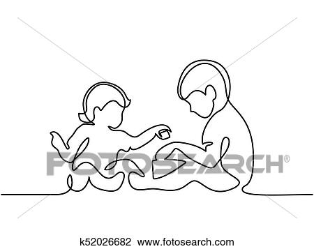 Toddler Girl Playing With Her Newborn Brother Clipart K52026682