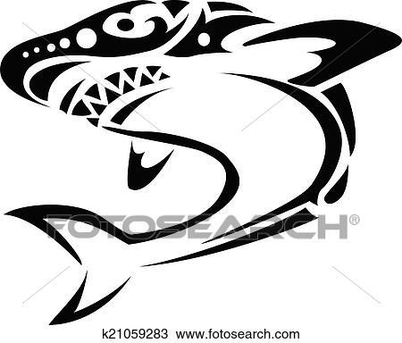 Tubarao Tribal Tatuagem Clipart K21059283 Fotosearch