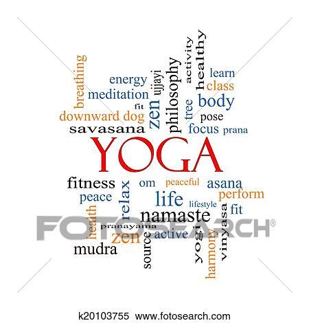 yoga word cloud concept stock photography  k20103755