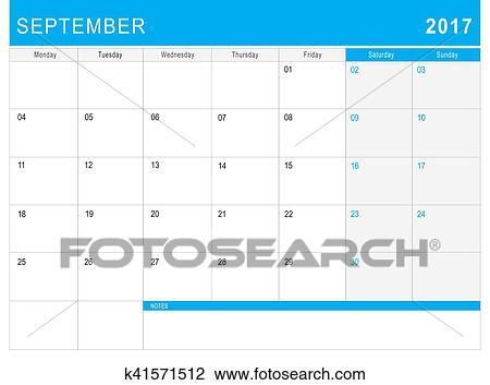 Calendario Con Note.2017 Settembre Calendario Or Scrivania Planner Con Note Disegno