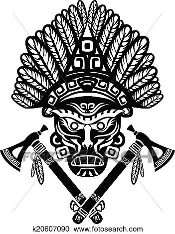 Clipart   American Indian Mask. Fotosearch   Search Clip Art, Illustration  Murals, Drawings