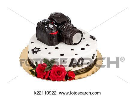 Phenomenal Birthday Cake For Forty Anniversary With Modern Dslr Photo Camera Funny Birthday Cards Online Benoljebrpdamsfinfo