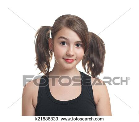 Attractive Teen Girl In Black Top With Pigtails Play On White Background Portrait Smiling Girl With Two Pigtails
