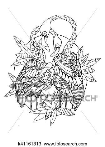 Flamingo Vogel Ausmalbilder Für Erwachsene Vektor Clipart