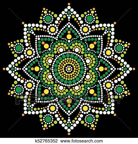 Mandala Vector Dot Art Aboriginal Dot Painting Retro Folk Design