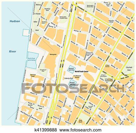 Clip Art Of Map Downtown Manhattan World Trade Center New York City