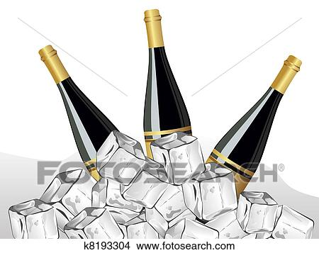 clipart set of three champagne bottleice cube for new year fotosearch