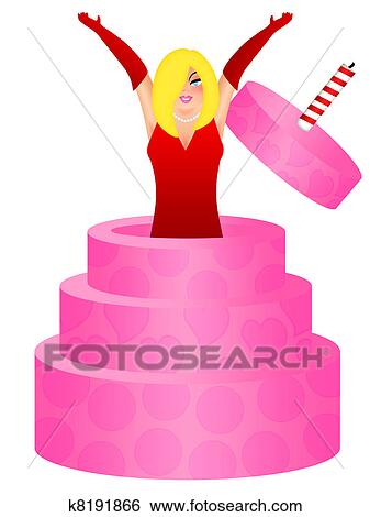 Sexy Blonde Woman Jumping Out Of Birthday Cake Illustration Stock