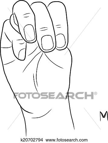 Sign Language And The Alphabetthe Letter M Clipart K20702794