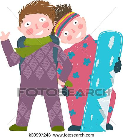 Skiing Sport Child Girl And Boy In Winter Clothes With Snowboard Cartoon Clipart K30997243 Fotosearch