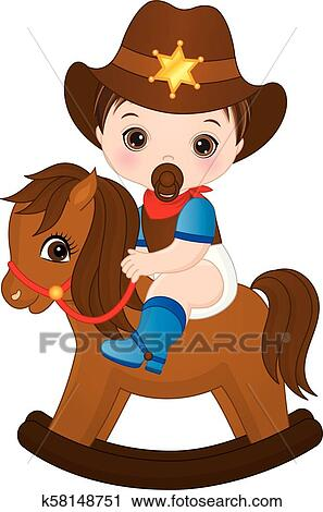 clipart of vector cute little baby boy dressed as cowboy k58148751